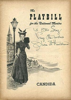 """Signed National Theatre Stagebill (Program); Bernard Shaw's """"Candida."""": de Havilland..."""
