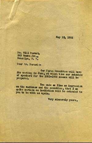 Typed Letter Signed by Will Durant (1885-1981).: Durant, Will