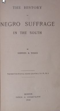 The history of negro suffrage in the South.