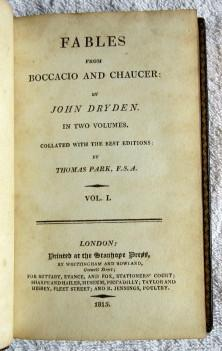 Fables from Boccacio and Chaucer: Dryden John (ed.