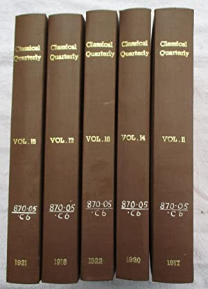 The Classical Quarterly, volume 12: Arnold Prof. E. V. and Hall F. W. (editors)