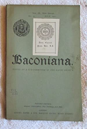 Baconiana - volume 9, new series, January 1901 to October 1901, four issues in wrappers: Periodical