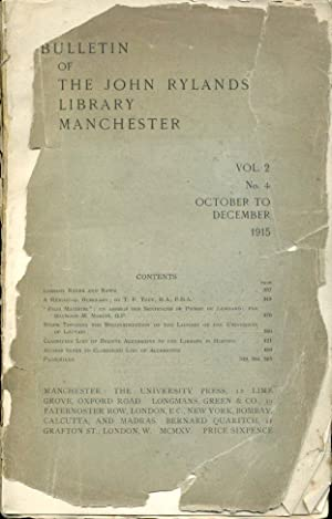 Bulletin of the John Rylands Library Manchester : Vol 2 No 4 : 1915