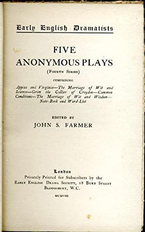 Five Anonymous Plays