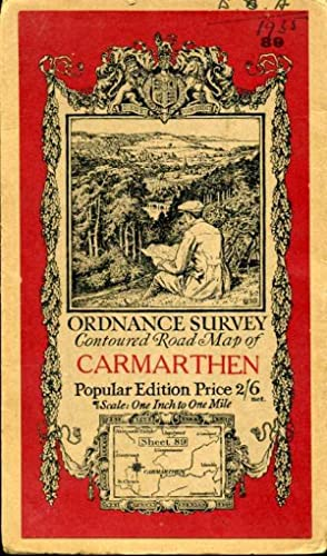 Ordnance Survey Contoured Road Map of Carmarthen : Sheet 89 : One-inch Popular Edition (cloth)