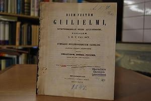 Schulbericht Karlsgymnasium Heilbronn 1847. Diem Festum Guilielmi,
