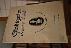 Programmheft. Stadtgarten Stuttgart Sommer Variete. Direktion Herbert H.Jamnig 16. - 30. Juni 1939.