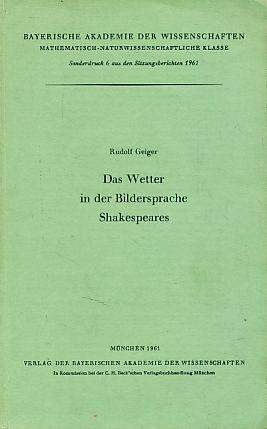 Das Wetter in der Bildersprache Shakespeares - Geiger, Rudolf