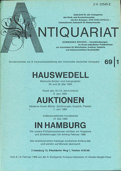 Antiquariat 1969/1. Zeitschrift für alle Fachgebiete des: Rossipaul, Lothar (Hg.):