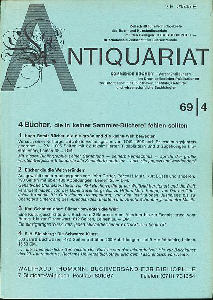 Antiquariat 1969/4. Zeitschrift für alle Fachgebiete des: Rossipaul, Lothar (Hg.):