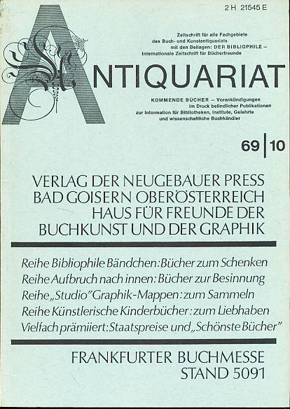 Antiquariat 1969/10. Zeitschrift für alle Fachgebiete des: Rossipaul, Lothar (Hg.):