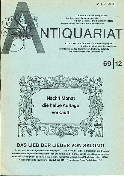 Antiquariat 1969/12. Zeitschrift für alle Fachgebiete des: Rossipaul, Lothar (Hg.):