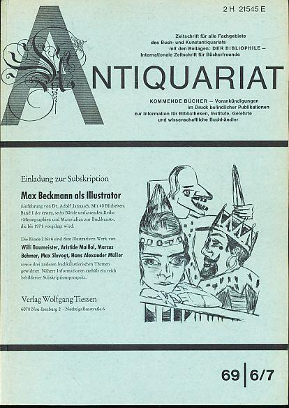 Antiquariat 1969 6/7. Zeitschrift für alle Fachgebiete: Rossipaul, Lothar (Hg.):