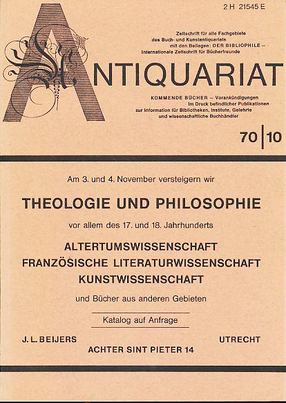 Antiquariat 70/10. Zeitschrift für alle Fachgebiete des: Rossipaul, Lothar (Hg.):