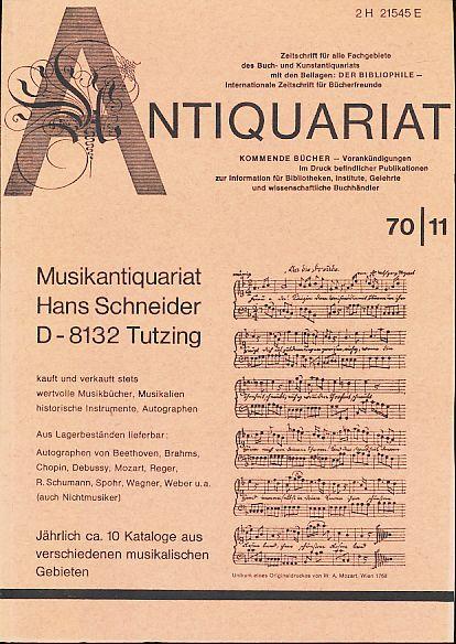 Antiquariat 70/11. Zeitschrift für alle Fachgebiete des: Rossipaul, Lothar (Hg.):