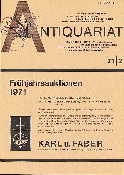 Antiquariat 71/2. Zeitschrift für alle Fachgebiete des: Rossipaul, Lothar (Hg.):