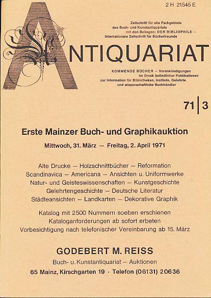 Antiquariat 71/3. Zeitschrift für alle Fachgebiete des: Rossipaul, Lothar (Hg.):
