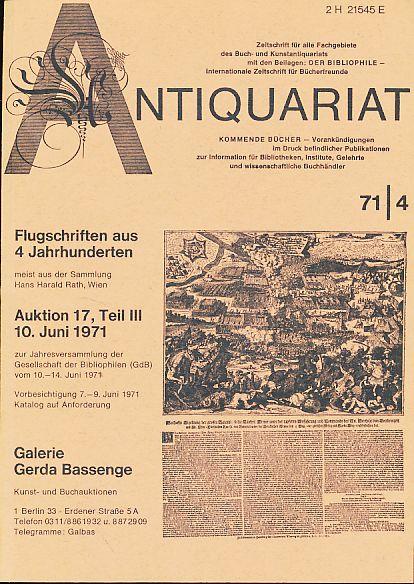 Antiquariat 71/4. Zeitschrift für alle Fachgebiete des: Rossipaul, Lothar (Hg.):