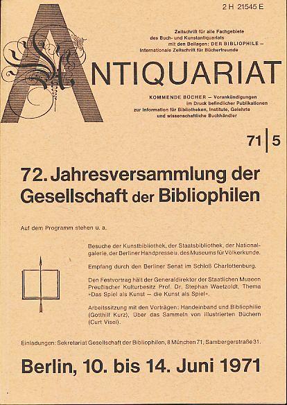Antiquariat 71/5. Zeitschrift für alle Fachgebiete des: Rossipaul, Lothar (Hg.):