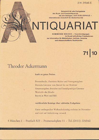 Antiquariat 71/10. Zeitschrift für alle Fachgebiete des: Rossipaul, Lothar (Hg.):