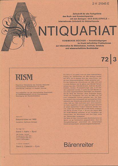 Antiquariat 72/3. Zeitschrift für alle Fachgebiete des: Rossipaul, Lothar (Hg.):