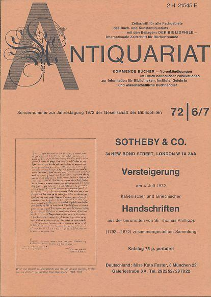 Antiquariat 72 6/7. Zeitschrift für alle Fachgebiete: Rossipaul, Lothar (Hg.):