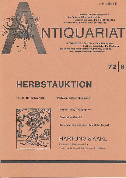 Antiquariat 72/8. Zeitschrift für alle Fachgebiete des: Rossipaul, Lothar (Hg.):