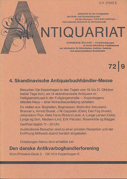 Antiquariat 72/9. Zeitschrift für alle Fachgebiete des: Rossipaul, Lothar (Hg.):