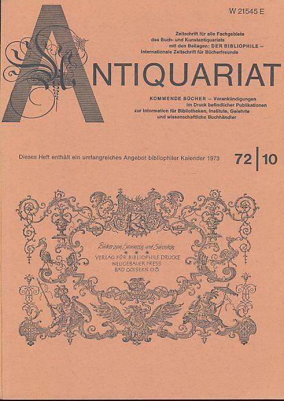 Antiquariat 72/10. Zeitschrift für alle Fachgebiete des: Rossipaul, Lothar (Hg.):