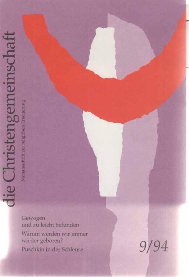Die Christengemeinschaft. 9/94. Monatsschrift zur religiösen Erneuerung.