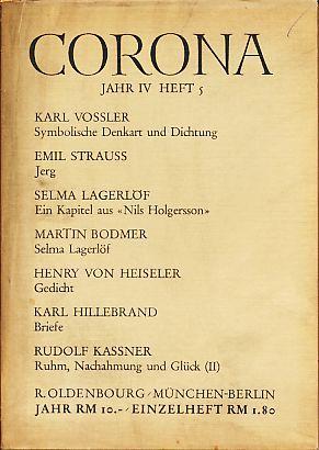 Corona. Zweimonatsschrift. 4. Jahr, 5. Heft, Juni: Bodmer, Martin und