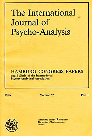 The International Journal of Psycho-Analysis. Hamburg Congress Papers. (= Kompletter Jahrgang). ...