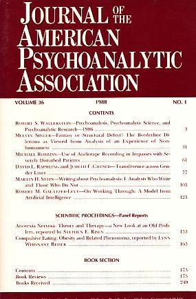 Journal of the American Psychoanalytic Association. (= Kompletter Jahrgang). 1988. Volume 36. Part ...