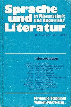 Interpretation. Sprache und Literatur in Wissenschaft und: Heringer, Hans Jürgen,