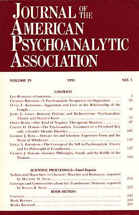 Journal of the American Psychoanalytic Association. (=: Shapiro, Theodore (Ed.):