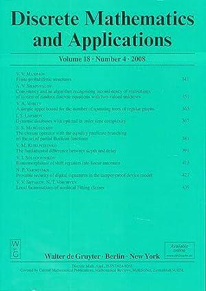 Discrete Mathematics and Applications. Volume 18, Number: Kolchin, V. F.