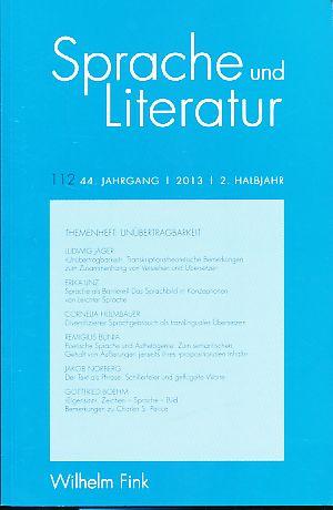 Sprache und Literatur 112. 44. Jg., 2013,: Binczek, Natalie, Ludwig