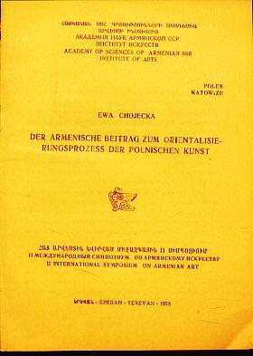 Der armenische Beitrag zum Orientalisierungsprozess der polnischen: Chojecka, Ewa: