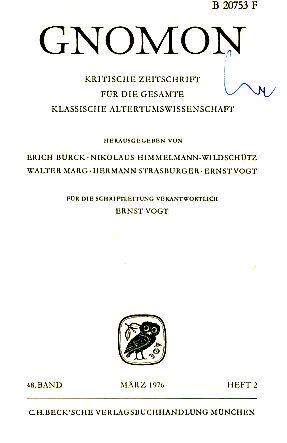 Heft 2; 48. Band. Gnomon. 1976. Kritische: Vogt, Ernst (Hrsg.)