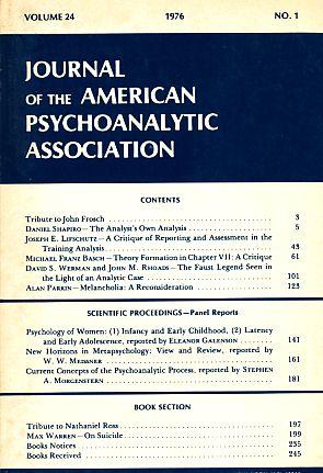 Journal of the American Psychoanalytic Association. Volume: Blum, Harold P.