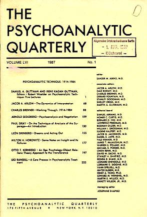 The Psychoanalytic Quarterly. Vol. LVI. 1987. No.: Abend, Sander M.