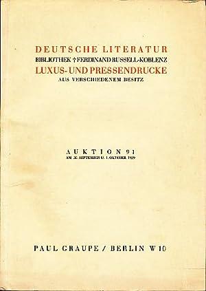 Deutsche Literatur. Bibliothek Ferdinand Russell-Koblenz. Luxus- und Pressendrucke aus ...