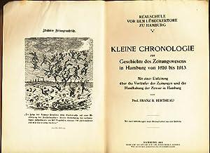 Kleine Chronologie zur Geschichte des Zeitungswesens in Hamburg von 1616 bis 1913 : Realschule vor ...