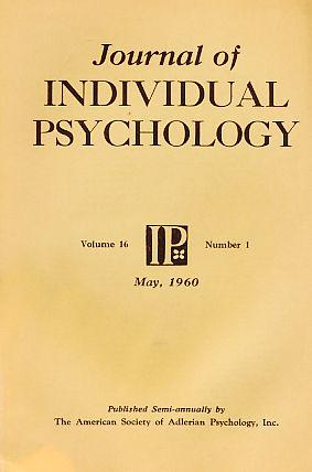 Journal of Individual Psychology. Volume 16. Number: Ansbacher, Heinz L.: