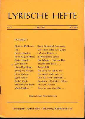 Lyrische Hefte. Nr. 6, Mai 1960.: Astel, Arnfried (Hg.):