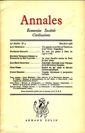 Annales. Economies Sociétes Civilistations, 23e Année, No: Braudel, Fernand, Georges
