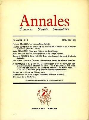 Annales. Economies Sociétes Civilistations, 24e Année, No: Braudel, Fernand, Georges