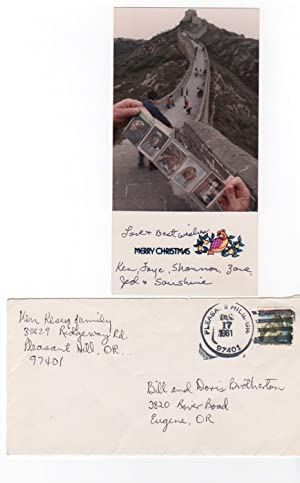 Inscribed photograph. Kesey's Christmas card for 1981: Kesey, Ken