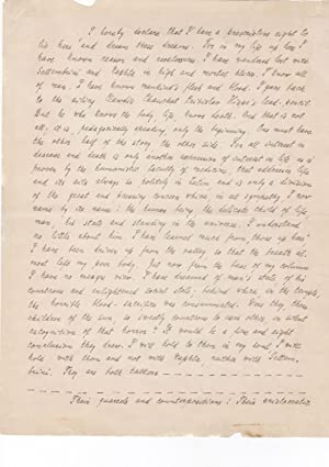 Autograph manuscript, signed, in English, quoting the culminating portion of THE MAGIC MOUNTAIN: ...