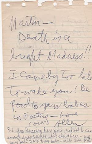 Autograph letter signed. To Martin Baer and: Ginsberg, Allen and